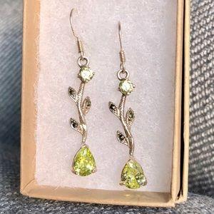 """Jewelry - Sterling silver """"peridot"""" marcasite earrings"""
